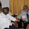 NPP flag-bearer pays courtesy call on President Rawlings