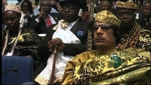 Western intervention in Libya helped topple the 42-year rule of dictator Mu'ammar al-Qaddafi, seen here at the African Union meeting in February 2009, but it seems to have done so at the expense of the Libyan nation-state and surrounding nations of the Maghreb and north-central Africa.